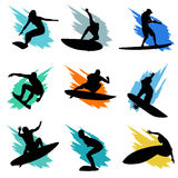 Surfing. Set of surfing silhouette vector Stock Photography