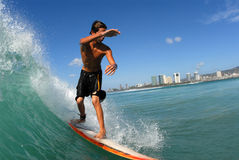 Surfing. A surfer surfing down the line royalty free stock photography