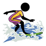 Surfing. Silhouette-man water sport icon - surfing Royalty Free Stock Photography