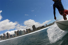 Surfing. A shortboarder surfing down the line royalty free stock photos