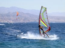 Surfing. On the Red sea, Eilat Stock Photo