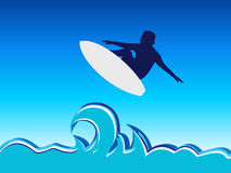 Surfing. Man jump, abstract  illustration Royalty Free Stock Photos