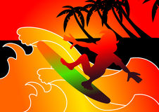 Surfing. Illustration of a surfer challenging a wave royalty free illustration