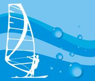 Surfing. Vector illustration on windsurfing with drops of water royalty free illustration