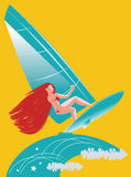 Surfing. The girl surfer. Vector illustration vector illustration