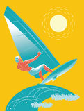 Surfing. The boy surfer. Vector illustration Royalty Free Stock Image