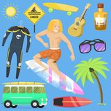 Surfing active water sport surfer summer time beach activities. Man windsurfing jet water wakeboarding kitesurfing vector illustration. Activity adventure Stock Photography