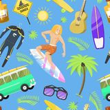 Surfing active water sport surfer summer time beach activities man windsurfing jet water wakeboarding seamless pattern. Surfing active water sport surfer summer Royalty Free Stock Photos