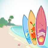 Surfing Adventure On a Tropical Island stock illustration