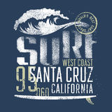 Surfing 007. Surfing artwork. World's best surf spots. Santa Cruz California. T-shirt apparel print graphics. Original graphics Tee Stock Image