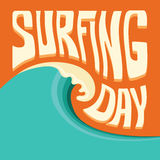 Surfing background with big ocean wave and text. Big blue poster wave Royalty Free Stock Photos