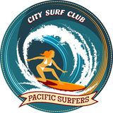 Surfing badge design with a girl surfing Stock Images