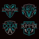 Surfing badges and icons Stock Images
