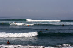 Surfing in Bali Indonesia Royalty Free Stock Image