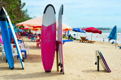 Surfing on Bali island stock photography