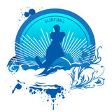Surfing banner. Abstract blue colored surfing  illustration Stock Photography