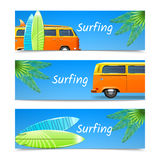 Surfing Banners Set Royalty Free Stock Photo