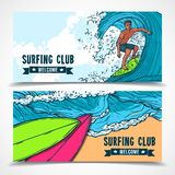 Surfing banners set Royalty Free Stock Images