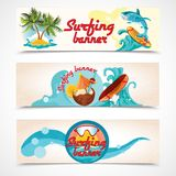 Surfing banners set Stock Photography