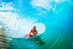 Surfing in the Barrel Royalty Free Stock Photography