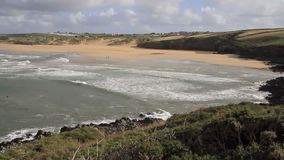 Surfing beach Crantock bay North Cornwall England UK Stock Photography