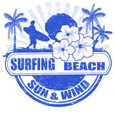 Surfing beach stamp Royalty Free Stock Photos