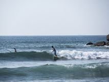 Surfing at the beach of Mirissa stock photography