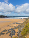 Surfing beach near Newquay Treyarnon Bay Cornwall England UK Cornish north coast Royalty Free Stock Photography