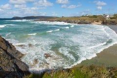 Surfing beach Treyarnon Bay Cornwall England UK Cornish north coast between Newquay and Padstow Royalty Free Stock Photos