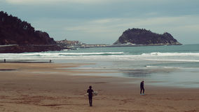 Surfing Beach Zarauz San Sebastian Spain. Landscape at Zarautz San Sebastian Basque Country Spain Stock Photography