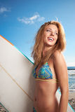 Surfing beautiful woman Royalty Free Stock Images