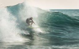 Surfing in Beliche. Praia do Beliche, Sagres Portugal stock photo