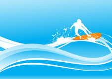 Surfing on blue wave Stock Photo