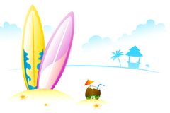 Surfing Board with Coconut Stock Images