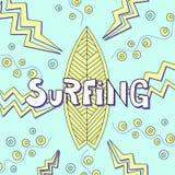 Surfing board doodle illustration. Stock Image