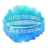 Surfing board white logo on blue watercolor Royalty Free Stock Image