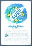 Surfing boards logo on blue watercolor imitation background, vector leaflet Stock Photos