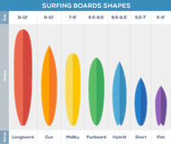 Surfing boards types vector infographic. Surfing boards types colorful vector infographic design royalty free illustration