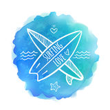 Surfing boards white logo on blue watercolor Stock Image