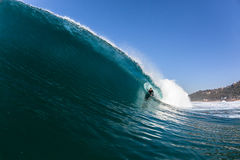 Surfing Body-Boarder Hollow Blue Ocean Wave Royalty Free Stock Photography