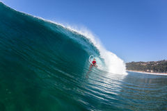 Surfing Body-Boarder Ride Blue Wave Water Royalty Free Stock Photo