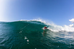 Surfing Body-Boarder Tube Ride Wave Water Royalty Free Stock Photography