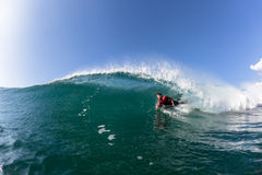 Surfing Body-Boarder Tube Ride Wave Water Stock Image