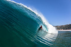 Surfing Body-Boarder Tube Ride Wave Water Stock Photo