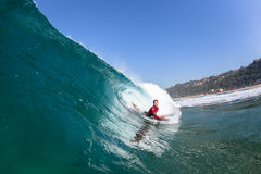 Surfing Body-Boarder Tube Ride Wave Water Stock Photos