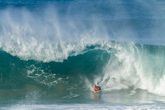 Surfing Bodyboarding Waves Royalty Free Stock Photos