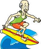 Surfing Boomer. This is a retired man surfing the waves Stock Photography