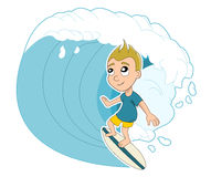 Surfing boy cartoon stock illustration