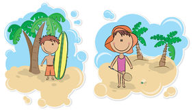 Surfing boy and girl with badminton racket Royalty Free Stock Photos