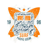 Surfing bus emblem in retro style Stock Images